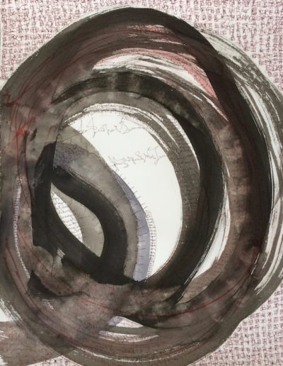 Circling the Edge |26x20| Sumi Ink on Paper