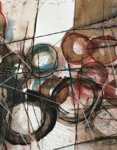 Circling the Line |20x26| Encaustic, Ink on Paper