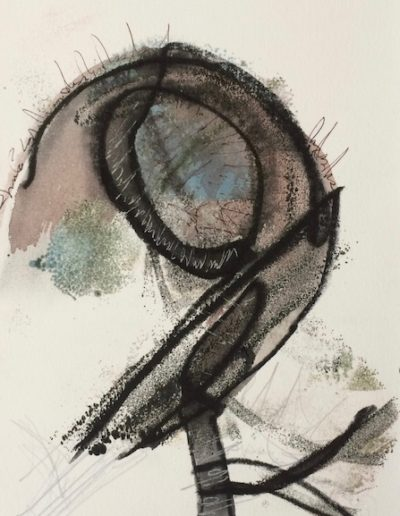 Channeling the VLA |9.5x6.5|Encaustic, Ink on paper